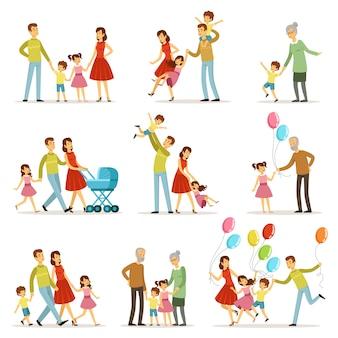Grande família feliz com a mãe, pai, avó e avô.