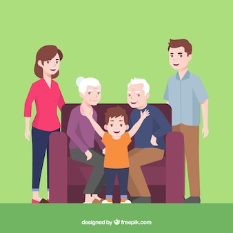 Grande família feliz com design plano