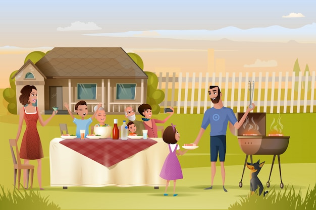 Grande família férias jantar ou piquenique cartoon vetor