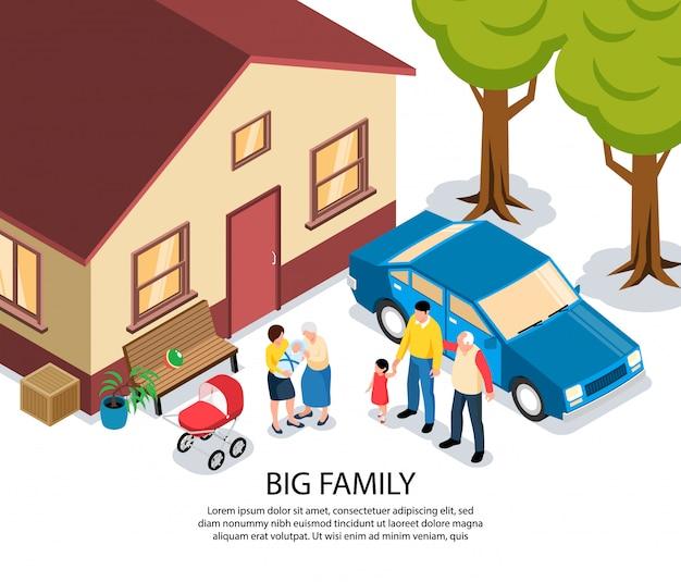 Grande família isométrica com vovó e vovô parabenizando jovens pais com recém-nascido perto de sua casa