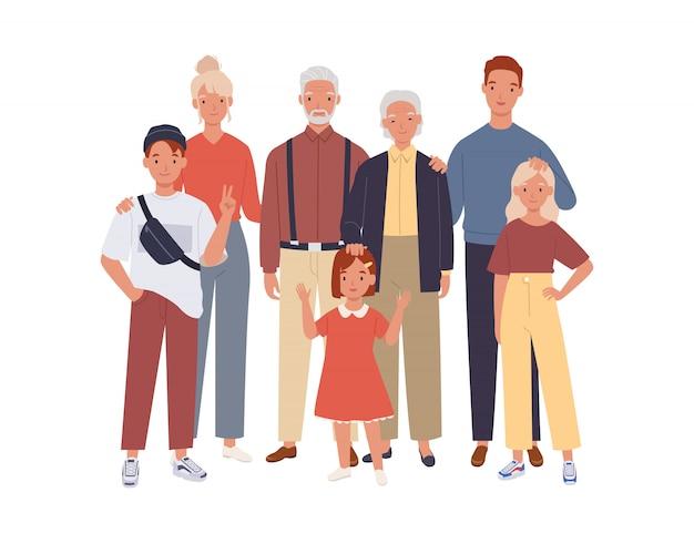 Grande família. pai, mãe, avô, avó e filhos.