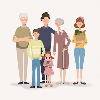 Grande família pessoas em férias. mão desenhada personagem de pai.