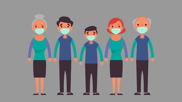 ฺ grande família usando máscara médica protetora reduza a situação de crise de risco de infecção e conceito de doença que todos estamos enfrentando em todo o mundo devido ao coronavírus coronavirus 2019-nco