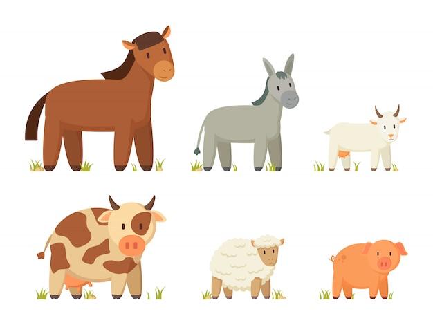 Grande, fazenda, animais, ilustração