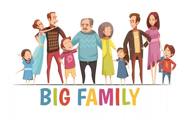 Grande, feliz, harmonioso, retrato familiar, com, avós, dois, jovem, pares, e, pequeno, crianças, caricatura, vetorial, ilustração