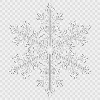 Grande floco de neve de cristal translúcido em cores cinza em fundo transparente. transparência apenas em arquivo vetorial