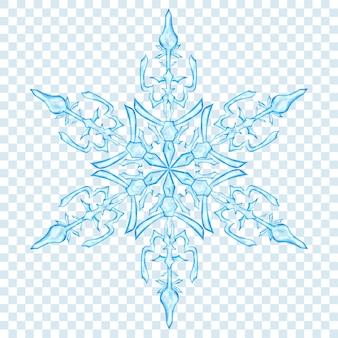 Grande floco de neve translúcido de natal em cores azuis claras sobre fundo transparente. transparência apenas em formato vetorial