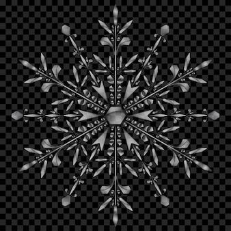 Grande floco de neve translúcido de natal em cores cinza em fundo transparente. transparência apenas em arquivo vetorial