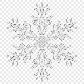 Grande floco de neve translúcido de natal em cores cinza em fundo transparente. transparência apenas em formato vetorial