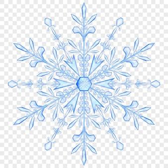 Grande floco de neve translúcido de natal nas cores azuis em fundo transparente. transparência apenas em arquivo vetorial