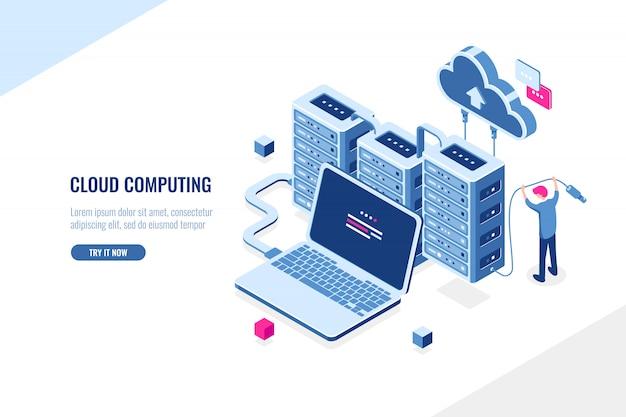 Grande fonte de dados, centro de dados, computação em nuvem e conceito isométrico de armazenamento em nuvem, rack de sala de servidor