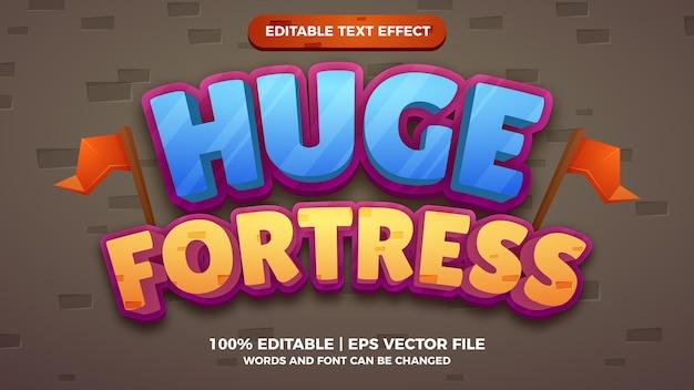 Grande fortaleza editável de texto em 3d com estilo de desenho animado em quadrinhos