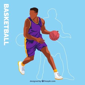 Grande fundo com a silhueta e jogador de basquete