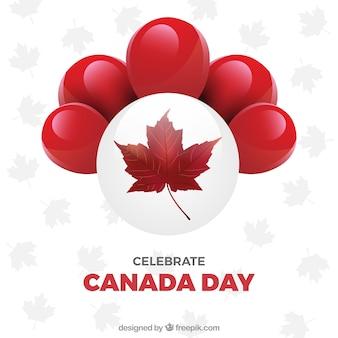 Grande fundo com balões vermelhos para o dia de canadá