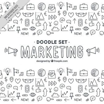 Grande fundo com doodles de marketing fantásticos