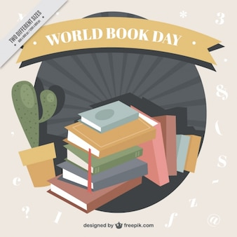 Grande fundo com livros e cactus