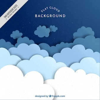 Grande fundo de nuvens planas em tons azuis