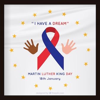 Grande fundo dia luther king martin com a fita vermelha e azul