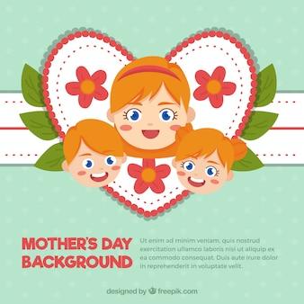 Grande fundo do dia de mãe da mulher com seus filhos