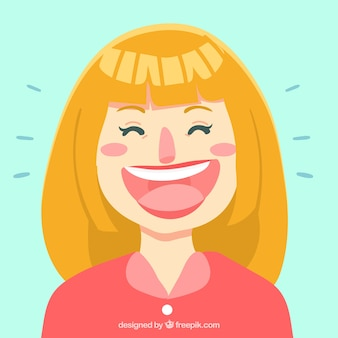 Grande, fundo, loiro, mulher, rir
