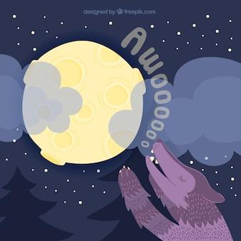 Grande, fundo, lua, lobo, uivar