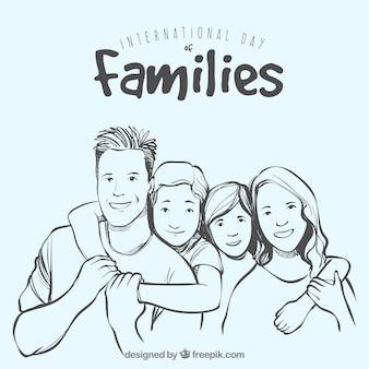 Grande, fundo, mão-drawn, família, sorrindo