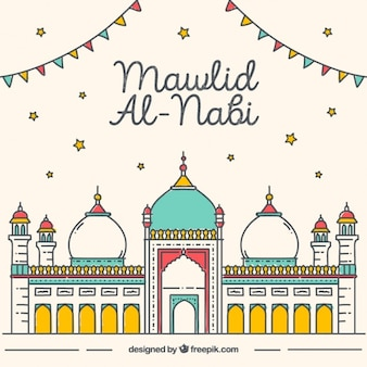 Grande fundo mawlid da mesquita colorido