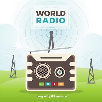 Grande fundo para o dia de rádio mundo com antenas