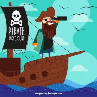 Grande, fundo, pirata, spyglass