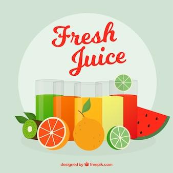 Grande, fundo, variedade, fruta, sucos