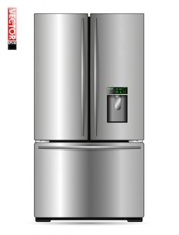 Grande geladeira de asa dupla com revestimento de metal, display e freezer. adequado para ilustrar cozinhas, produtos ou eletrodomésticos.