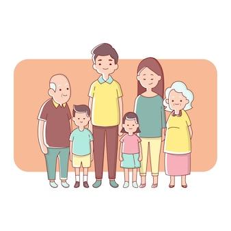 Grande geração familiar feliz juntos