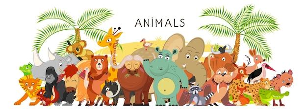 Grande grupo de animais em estilo simples de desenho animado fica junto. fauna mundial. ilustração vetorial