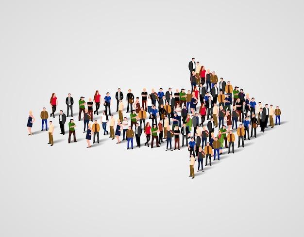 Grande grupo de pessoas aglomeradas no símbolo de seta