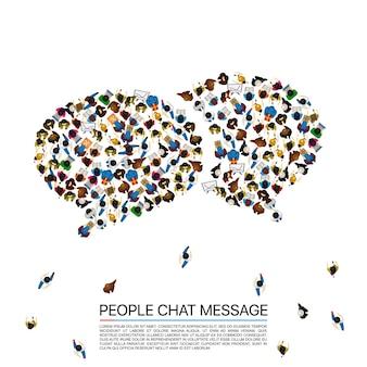 Grande grupo de pessoas em forma de bolhas de bate-papo. ilustração vetorial