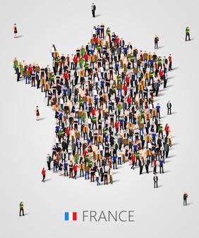 Grande grupo de pessoas em forma de mapa da frança. população da frança ou modelo demográfico. ilustração vetorial