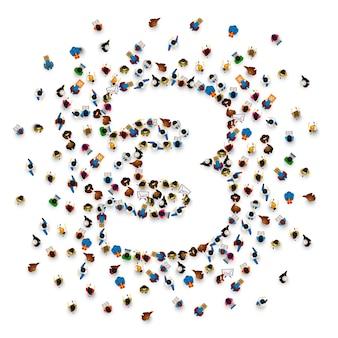 Grande grupo de pessoas em forma de número 3 três. fonte de pessoas. ilustração vetorial