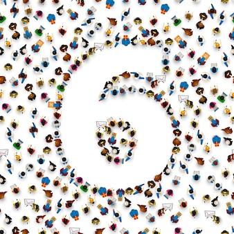 Grande grupo de pessoas em forma de número 6 seis. fonte de pessoas. ilustração vetorial