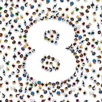 Grande grupo de pessoas em forma de número 8 oito. fonte de pessoas. ilustração vetorial