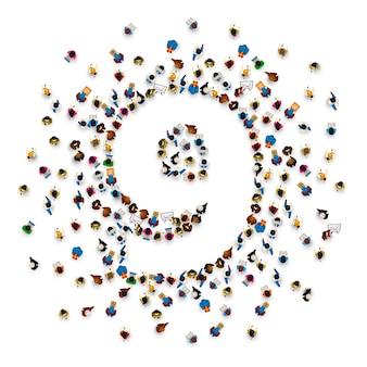 Grande grupo de pessoas em forma de número 9 nove. fonte de pessoas. ilustração vetorial