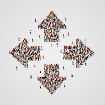 Grande grupo de pessoas na forma de flechas