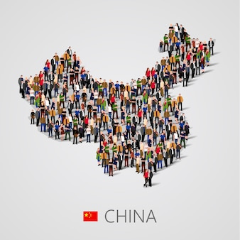Grande grupo de pessoas na forma de mapa da china. população da china ou modelo demográfico.