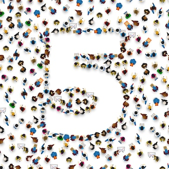 Grande grupo de pessoas na forma de número 5 cinco. fonte de pessoas. ilustração vetorial