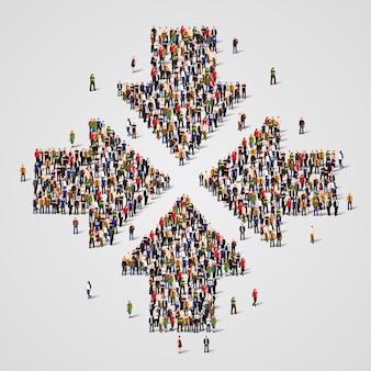 Grande grupo de pessoas na forma de setas convergentes