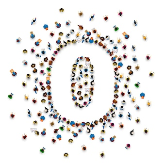 Grande grupo de pessoas na forma número 0 zero. fonte de pessoas. ilustração vetorial