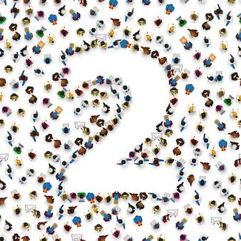 Grande grupo de pessoas no formulário número 2 dois. fonte de pessoas. ilustração vetorial