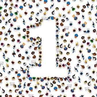 Grande grupo de pessoas no número 1, um formulário. fonte de pessoas. ilustração vetorial
