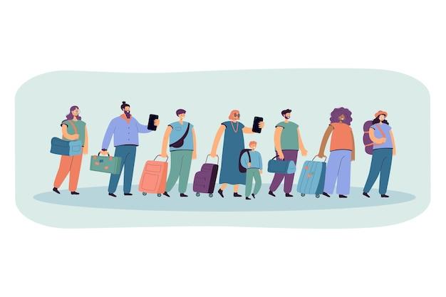 Grande grupo de turistas em linha com ilustração plana de bagagem.