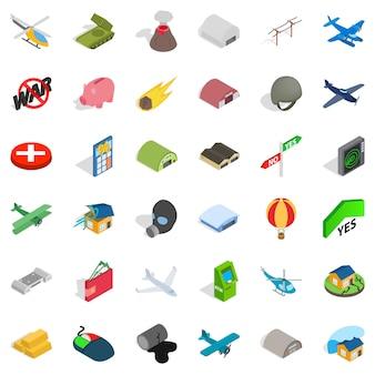 Grande guerra conjunto de ícones, estilo isométrico