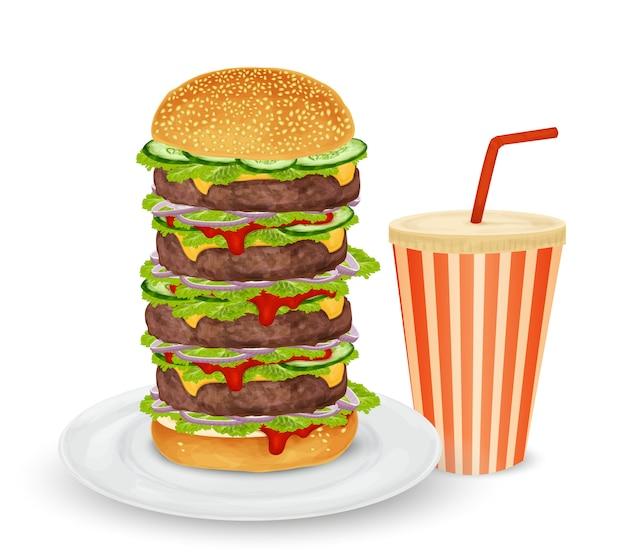 Grande hambúrguer e bebida